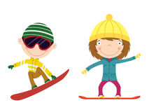 Snowboard kids. Cute cheerful kids flying on a snowboard. Color illustration Royalty Free Stock Images