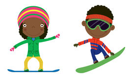 Snowboard kids. Cute cheerful African-American kids flying on a snowboard. Color illustration Stock Photography