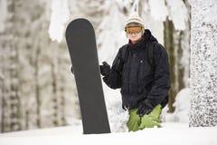 Snowboard lasu zima Fotografia Stock
