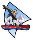 Snowboard logo - Colors. Computer generated illustration: jumping snowboarder upon a mountain background- Logo style Stock Photography