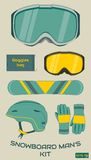 Snowboard man equipment set. Vector. Stock Image