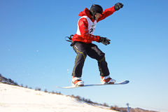 Snowboard man extreme fly Royalty Free Stock Photography