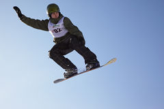 Snowboard man extreme fly Royalty Free Stock Photo