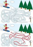 Snowboard maze. For kids with a solution Stock Images