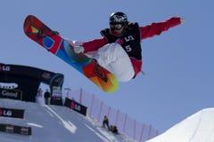 Snowboard mezzo del tubo Immagine Stock