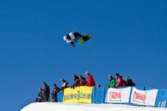 Snowboard mezzo del tubo Immagini Stock