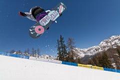 Snowboard mezzo del tubo Fotografia Stock