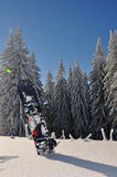 Snowboard in mountains. A snowboard stuck into thick snow with fir trees behind it Royalty Free Stock Photos