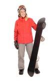 Snowboard, mujer Foto de archivo libre de regalías
