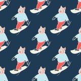 Snowboard naadloos patroon royalty-vrije stock afbeelding