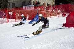 Snowboard parallel giant slalom Stock Photo