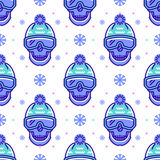 Snowboard pattern, winter sport seamless design. Modern hipster line symbols. Snowboard pattern, winter sport seamless pattern. Trendy skull line icons in Stock Images