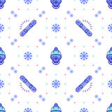 Snowboard pattern, winter sport seamless design. Trendy snowboarding line icons Royalty Free Stock Images