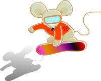 Snowboard player. Vector illustration for a mouse as a snowboard player Stock Photo