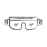 Snowboard protective glasses cartoon. Sketch draw snowboard protective glasses cartoon vector graphic design Stock Images
