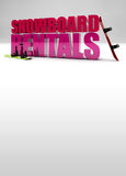 Snowboard rentals background. Snowboard rentals promotional poster background Royalty Free Stock Photos
