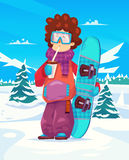 Snowboard resort holidays . Snow background. Flat Royalty Free Stock Photos