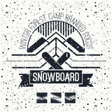 Snowboard retro emblem. And design elements. Graphic design for t-shirt.  Black print on a  white background Stock Photo