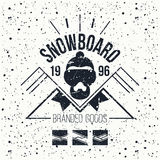 Snowboard retro emblem Stock Images