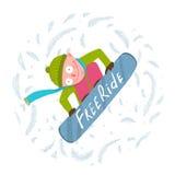 Snowboard Rider Jump Fun Cartoon libre enrrollado Imagenes de archivo