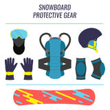 Snowboard safety equipment. Snowboard protective gear icon set. Safety equipment tools isolated on white background. Winter sport concept. Vector illustration Royalty Free Stock Images