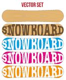 Snowboard sample flat symbols for design. Vector. Royalty Free Stock Photo