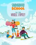 Snowboard School Illustration. Snowboard school poster with sport and family symbols flat vector illustration Royalty Free Stock Image