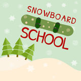 Snowboard school logo template. Stock Photos