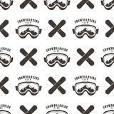 Snowboard seamless background. Winter ski pattern design with boards, snowboards mask and typography elements. Stock. Isolated on white. Monochrome style Royalty Free Stock Photos