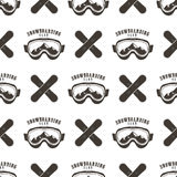 Snowboard seamless background. Winter ski pattern design with boards, snowboards mask and typography elements. Stock. Vector isolated on white. Monochrome style Royalty Free Stock Photos