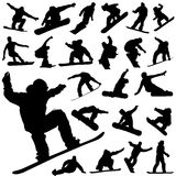 Snowboard set vector. Set of snowboard silhouette vector Royalty Free Stock Image