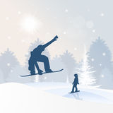Snowboard silhouette in winter Royalty Free Stock Photos