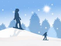 Snowboard silhouette in winter. Illustration of snowboard silhouette in winter Stock Photography