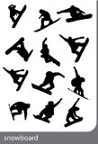 Snowboard silhouettes. Black on the white background Stock Image