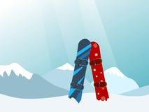 Snowboard in the Ski Mountain Resort. Illustration Stock Photo
