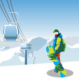 Snowboard and ski resort theme illustration. Snowboarder stands in the mountains with snowboard. Mountains and sky on the background. Vector illustration on Stock Image