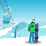 Snowboard and ski resort theme illustration. Snowboarder stands in the mountains with snowboard. Mountains and sky on the background. Vector illustration on Royalty Free Stock Photo