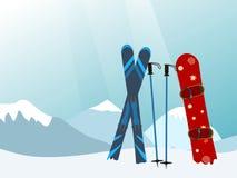 Snowboard and Ski in the Ski Mountain Resort. Vector illustratio Royalty Free Stock Photo