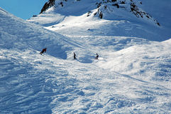 Snowboard and Ski Slope, Snowy Holidays with Friends Stock Photo