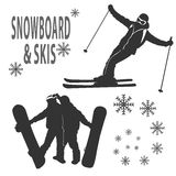 Snowboard and skies Royalty Free Stock Photos