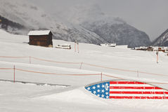 Snowboard slopestyle area - American style Royalty Free Stock Photography