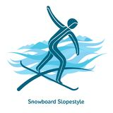 Winter games icon. Snowboard Slopestyle icon. Olympic species of events in 2018. Winter sports games icons,  pictograms for web, print and other projects. Vector Stock Photos