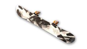 Snowboard, Sport-Ausrüstung auf weißer, Ansicht von unten Stockfotografie