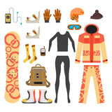Snowboard sport clothes and tools elements. Flat cartoon  Royalty Free Stock Image