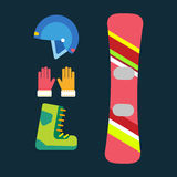 Snowboard sport clothes tools elements helmet glove boots element snowboarding item vector illustration isolated winter Royalty Free Stock Photo