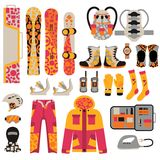 Snowboard sport clothes and tools elements Stock Photos
