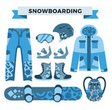 Snowboard sport clothes and tools elements Stock Photo