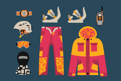 Snowboard sport clothes and tools elements Royalty Free Stock Photography