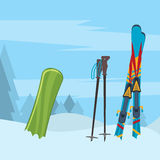 Snowboard with strap-in bindings and stomp pad. Royalty Free Stock Photos