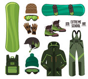 Snowboard with strap-in bindings and stomp pad. Stock Photography